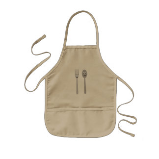 Spoon and Fork Kawaii Zqdn9 Kids Apron