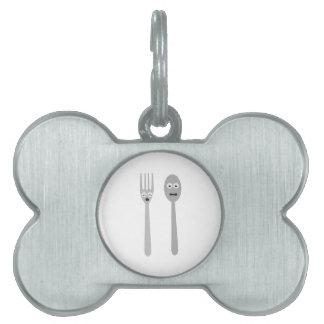 Spoon and Fork Kawaii Zqdn9 Pet Name Tag