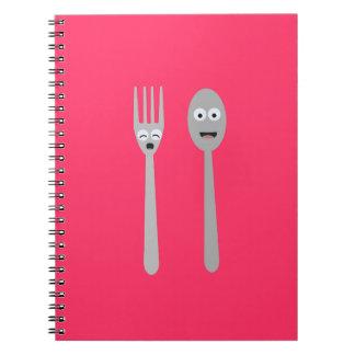 Spoon and Fork Kawaii Zqdn9 Spiral Notebook