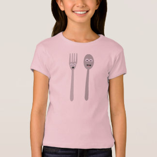Spoon and Fork Kawaii Zqdn9 T-Shirt