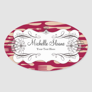Spoon and Fork Oval Sticker
