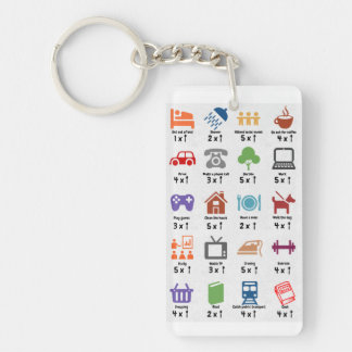 Spoon counter keyring Double-Sided rectangular acrylic keychain