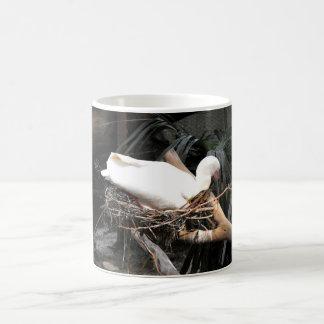 Spoonbill bird on nest in Spain Classic White Coffee Mug