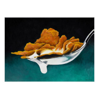 Spoonful of Cereal and Milk Painting Poster