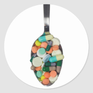 Spoonful of pills classic round sticker
