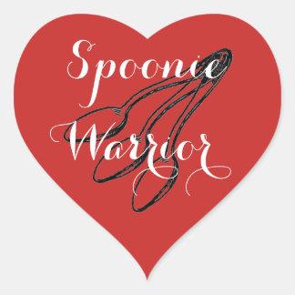 Spoonie Warrior - Bright Red Heart Sticker