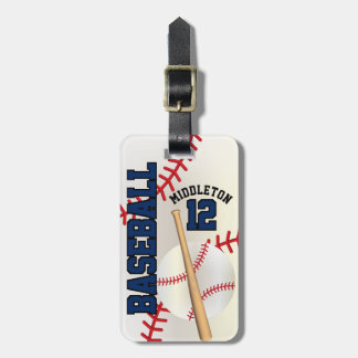 Sport Baseball   DIY Text - Navy Blue Luggage Tag