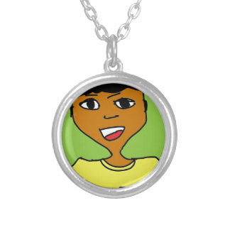 sport black kid cartoon silver plated necklace