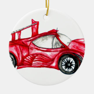 Sport Car Sketch Ceramic Ornament