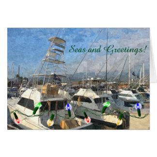 Sport Fishing Boats Holiday Card