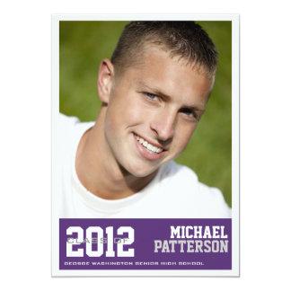 Sport Guy Photo Graduation Party Invitation Purple