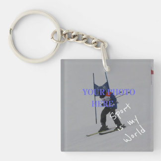 Sport is my world custom text and photo keepsake keychain
