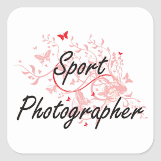 Sport Photographer Artistic Job Design with Butter Square Sticker