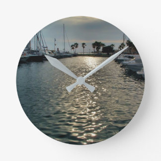 Sport port of Villajoyosa a cloudy day Round Clock