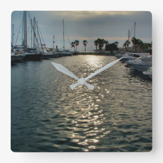 Sport port of Villajoyosa a cloudy day Square Wall Clock