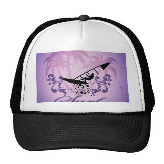 Sport, Surfboarder on violet background Hats