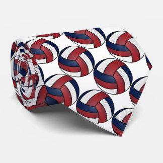 Sport White, Dark Red and Dark Blue Volleyball Tie