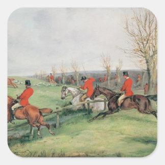 Sporting Scene, 19th century Square Stickers