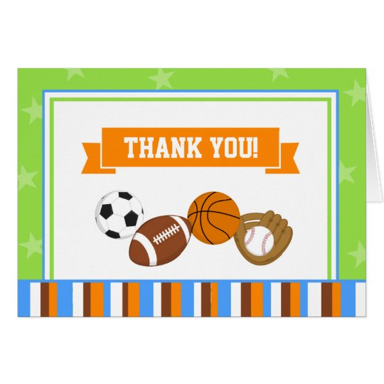Sports All-Star Thank You Card Folded Note Card