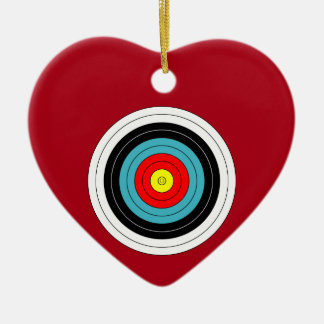 Sports Archery Target on Dark Red Heart Ceramic Heart Ornament