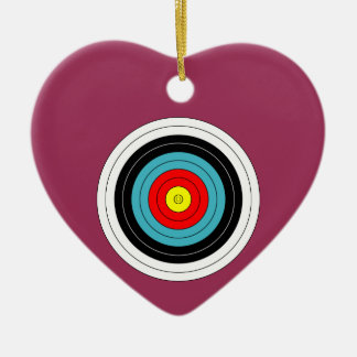 Sports Archery Target on Sangria Pink Heart Ceramic Heart Ornament
