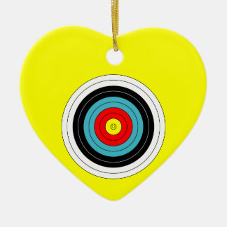 Sports Archery Target on Yellow Heart Ceramic Heart Ornament