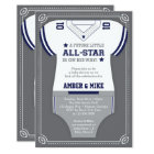 Sports Baby Shower Invitation, Football, Blue Grey Card