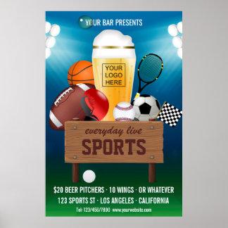 Sports Bar Event Promo add logo Advert Poster