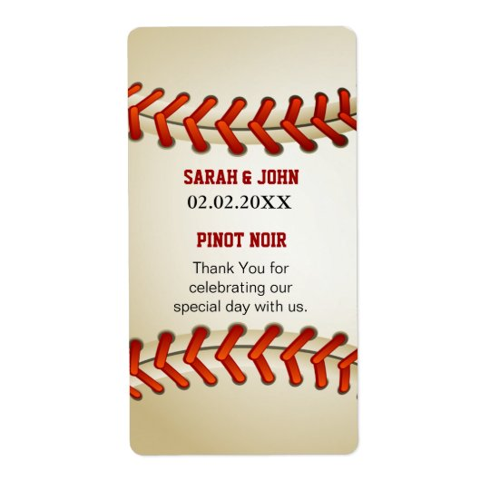 Sports  Baseball theme Personalized Wine label Shipping Label