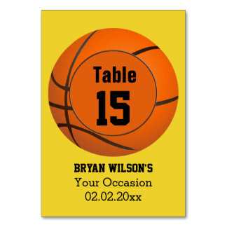 Sports Basketball theme Personalized table numbers Table Cards