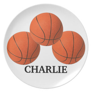 Sports Basketball Toddler Plate with Name