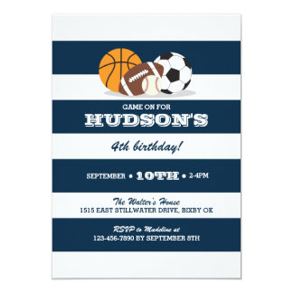 Sports Birthday Invitation - Baseball, Football