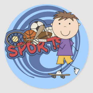 Sports Boy Skateboarder - Tshirts and Gifts Classic Round Sticker