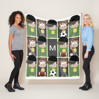 Sports Boy with Monogram Fleece Blanket