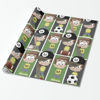 Sports Boy with Monogram Wrapping Paper