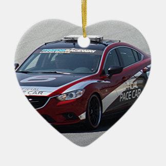 Sports Car Auto Racing Ceramic Heart Ornament