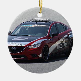 Sports Car Auto Racing Round Ceramic Ornament