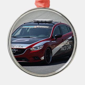 Sports Car Auto Racing Silver-Colored Round Ornament