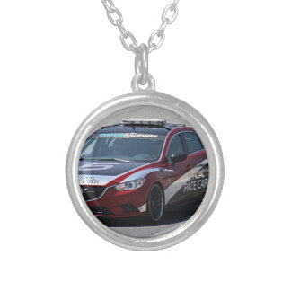 Sports Car Auto Racing Silver Plated Necklace