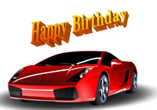 Sports Car Happy Birthday Card