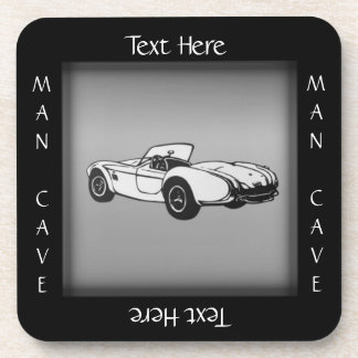 Sports Car Man Cave Coaster Custom Text