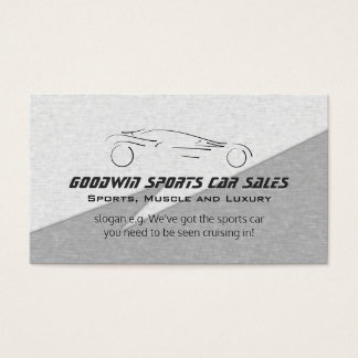 Sports Car Sales - faux metal, silver sportscar Business Card