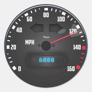 Sports Car speedometer Classic Round Sticker