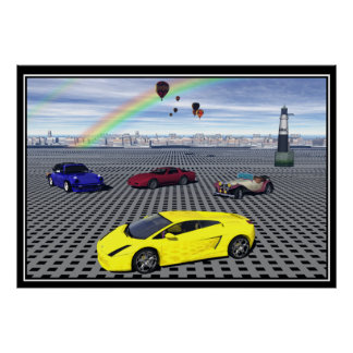 Sports Cars balloons Abstract Poster