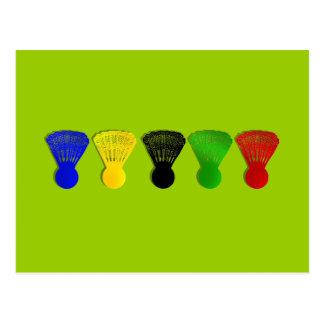 sports de volant de badminton carte postale
