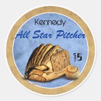 Sports d'équipe de baseball sticker rond