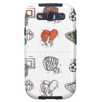 Sports equipment displayed against white galaxy s3 cases