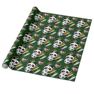 Sports fan Panda football soccer Wrapping Paper