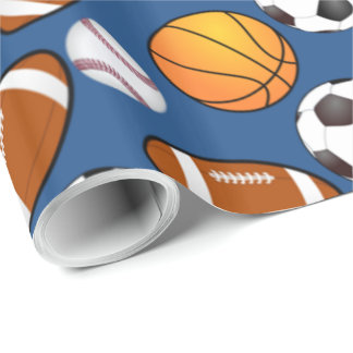 Sports football soccer baseball basketball Pattern Wrapping Paper