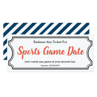 Sports game Date IOU Ticket Card